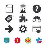 Question mark and puzzle signs. File, arrow. Stock Photography