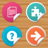 Question mark and puzzle signs. File, arrow. Stock Photos