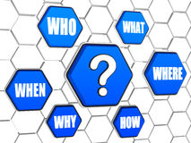 Question-mark and question words in blue hexagons. Question-mark and question words in 3d blue hexagons in cellular structure, business concept Stock Photos