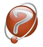 Question mark red button icon sign interrogation. Question mark ? button icon or sign mystery answers red 3D icon with point in orbit search answer interrogation Stock Photos