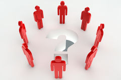 Question mark with red characters Stock Image