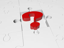 Question mark in red on puzzle pieces. In backgrounds Stock Photo