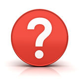 Question mark in red sign circle over white background with reflection and shadow. 3D rendering Stock Image