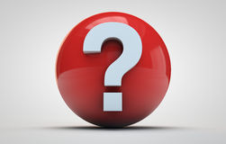 Question mark on a red sphere Royalty Free Stock Photography
