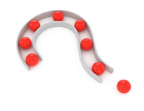 Question mark and red spheres. On white background. 3d render vector illustration