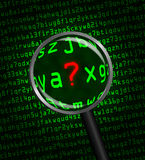 Question Mark revealed in computer code through a magnifying gla. Question Mark ? in red revealed in green computer machine code through a magnifying glass Stock Photos