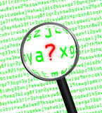 Question Mark revealed in computer code through a magnifying gla Stock Photography