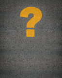 Question Mark Road Markings. Conceptual Image Of A Question Mark As Yellow Asphalt Road Markings Royalty Free Stock Photography