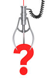 Question Mark in a Robotic Claw Stock Images