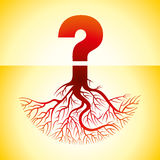 Question mark with roots,illustration Stock Photos