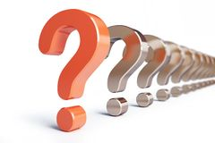 Question mark row. On a white background Royalty Free Stock Photos