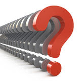 Question mark row on a white background Royalty Free Stock Image