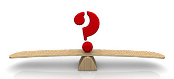The question mark on the scale Royalty Free Stock Photos
