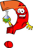 Question mark scientist holds beaker of chemicals Stock Photos