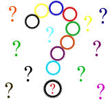 Question mark with setting icons Royalty Free Stock Images