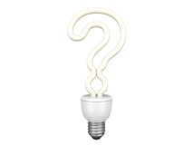 Question mark shaped bulb. Question mark energy saving bulb. Isolated on a white background royalty free illustration