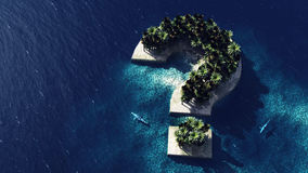 Question mark - shaped island. Aerial view with two sharks. Risky vacation Royalty Free Stock Images