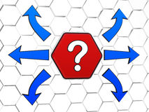 Question-mark sign with arrows in red hexagon. Question-mark sign and blue arrows in opposite directions, 3d red hexagon in cellular structure, concept image Stock Photography