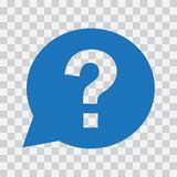 Question mark sign in blue speech balloon. Vector illustration stock illustration