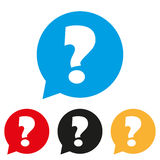Question mark sign icon. Help speech bubble symbol. FAQ sign. Round colourful 4 buttons. Vector Royalty Free Stock Photography