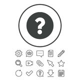 Question mark sign icon. Help symbol. FAQ sign. Document, Chat and Paper clip line signs. Question, Pencil and Calendar line icons. Star, Download and Shopping Stock Photo