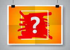 Question mark sign icon. Help symbol. Twice a folded poster with clamps. Ve. Stock Image