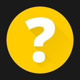 Question mark sign icon with shadow - black background.  Royalty Free Stock Photos