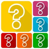 Question mark sign icons set with shadow. Vector icon Royalty Free Stock Photography