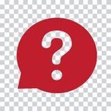 Question mark sign in red speech balloon. Help icon on a transparent background. Vector stock illustration