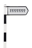 Question mark signpost. Conceptual picture of a signpost with question marks isolated on white background (sign cleaned Royalty Free Stock Images