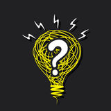 Question mark in the sketch bulb concept design Stock Photos