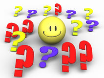 Question mark smiley. An illustration of differently colored question marks with a smiley Royalty Free Stock Image