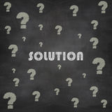 Question mark and solution drawn in chalk on a blackboard Royalty Free Stock Photos
