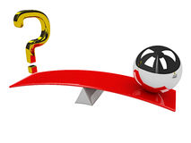 Question mark and sphere on scales Royalty Free Stock Photo