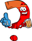 Question mark sports fan with glove and beer Royalty Free Stock Image