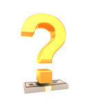 Question mark on stack of USA dollars. Financial concept Stock Photography