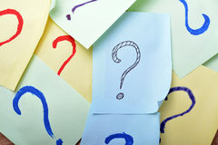 Question mark sticky note stock photos