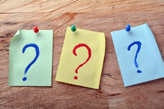Question mark sticky note Stock Image
