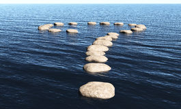 Question mark of stones on the water. A path in the shape of question mark made of stones above the surface of deep water, in a sunny day Stock Photography