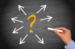 Question mark surrounded by arrows Stock Photography