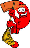 Question mark sweeping with broom Stock Photo