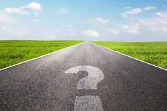 Question mark symbol on long empty straight road, highway. Conceptual - where do you go stock images