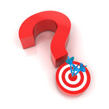 Question mark and target. 3d render, white background Royalty Free Stock Photography