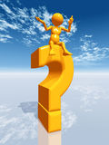 Question Mark with Thinker. 3d illustration with figure and question mark Stock Images