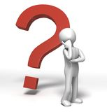 Question Mark Thinking. 3D rendered image of a character thinking in front of a big question mark sign Stock Photos
