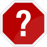Question mark traffic sign Stock Photo