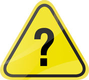 Question mark traffic sign. On yellow background Stock Image