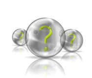 A question mark in a transparent ball Royalty Free Stock Photos