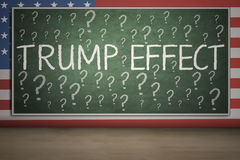 Question mark and Trump Effect word on chalkboard Stock Images