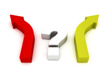Question mark and two arrows different direction choice Stock Photo